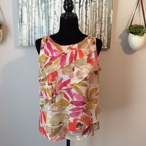 Chaus ruffled multi colored sleeveless top